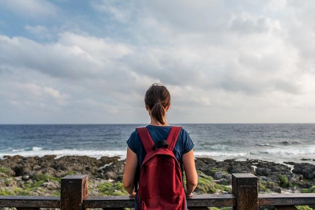 海のそばに立って地平線を見ている若い女性。
