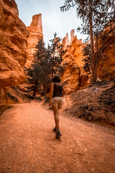 A young woman started the trail from below the navajo loop trail in bryce national park, utah. united states