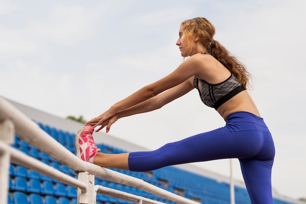 Young woman stretching process