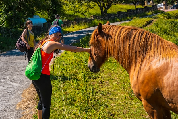 A young woman stroking a horse on the coast of monte igueldo, guipuzcoa, basque country. excursion from san sebastián to the town of orio through mount igeldo walking 3 friends.
