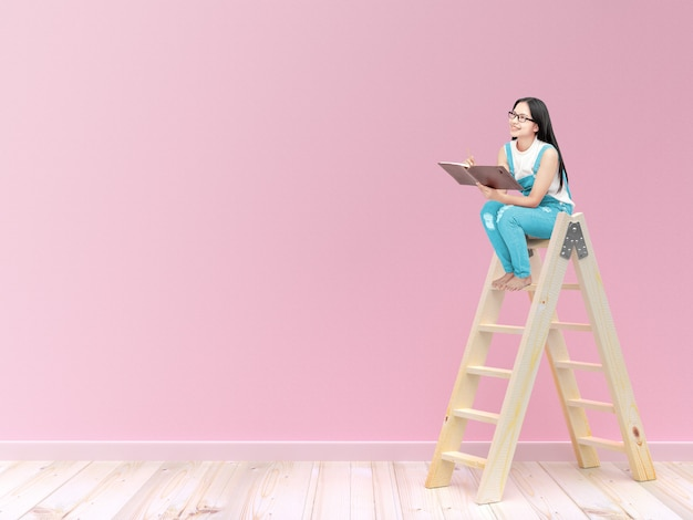 Young woman students sit on a ladder
