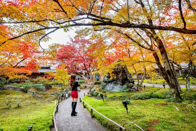 Young woman take a photo in autumn park. colorful leaves in autumn, kyoto in japan.