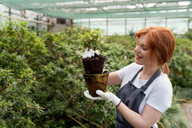 Giovane donna che si prende cura delle sue piante in una serra