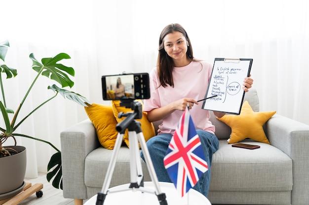 Молодая женщина преподает уроки английского онлайн