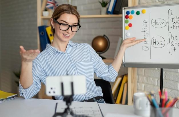 Молодая женщина преподает студентам урок английского онлайн