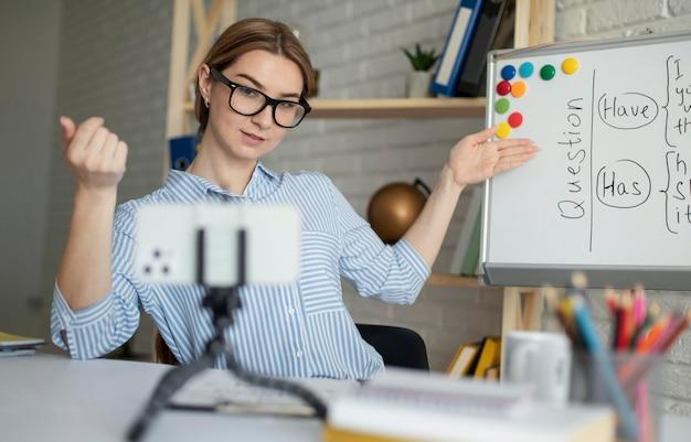 Giovane donna che insegna agli studenti una lezione di inglese online