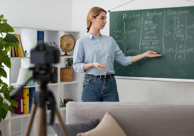 Молодая женщина обучает студентов в классе английского языка онлайн