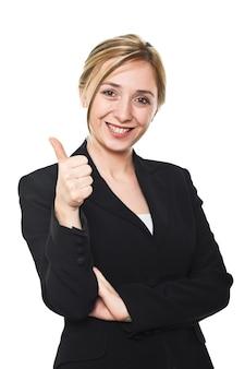 Молодая женщина палец вверх на белом