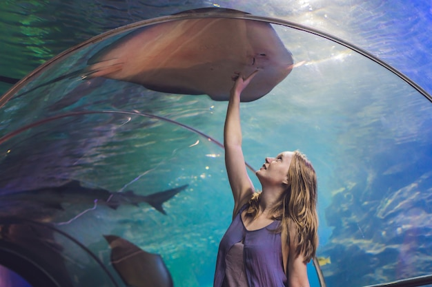 A young woman touches a stingray fish in an oceanarium tunnel.