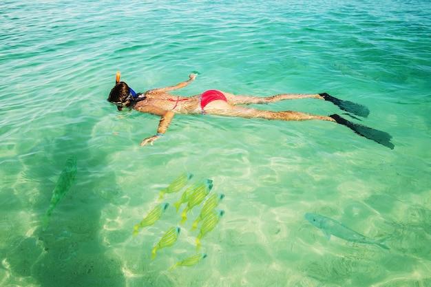 젊은 여자 관광은 바다에서 스노클링에 종사