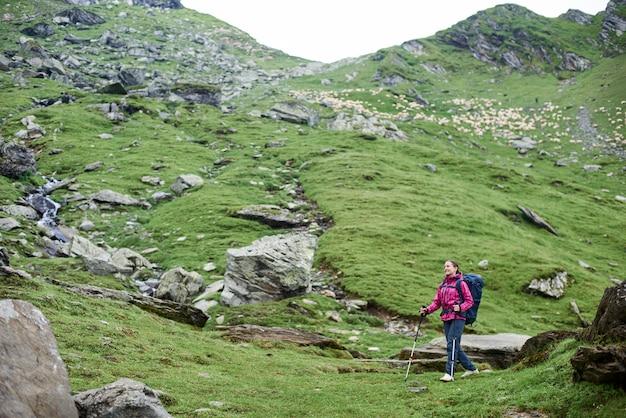 Турист молодой женщины идя вниз с холма в горах