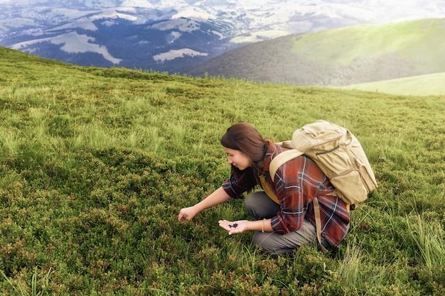 バックパッカーを持つ若い女性の観光客は、山の頂上でブルーベリーを収集します。アクティブなライフスタイルのコンセプト