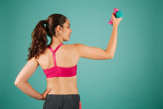 若い、女、トレーニング、上腕二頭筋、ダンベル