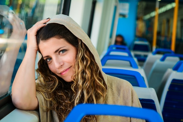 Young woman traveling by train people lifestyle