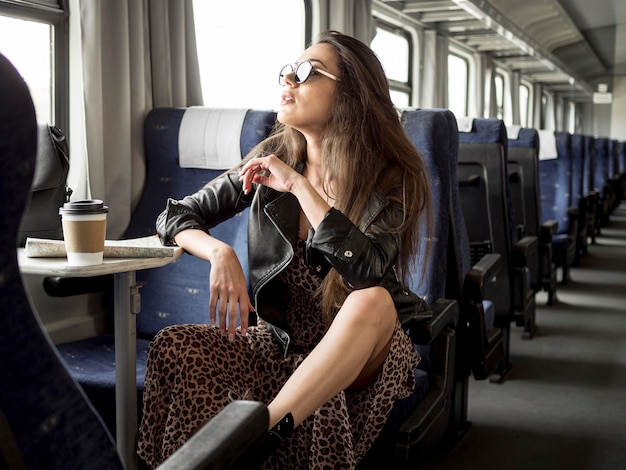 Young woman traveling with train