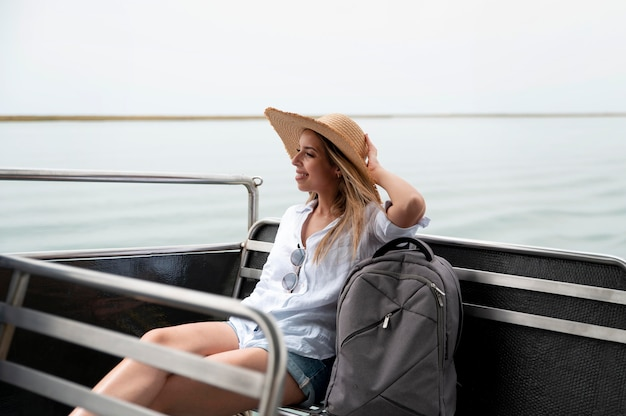 Young woman traveling without covid