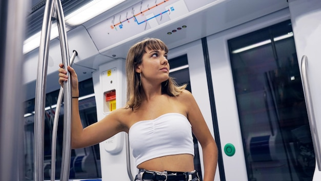 Young woman in underground