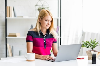 Young woman using laptop over desk