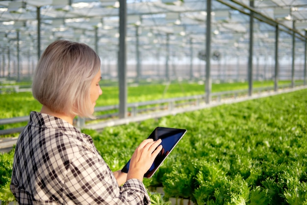 Young woman using or playing tablet in greenhouse