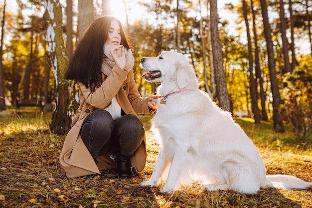 젊은 여자 산책과 노란색가 공원에서 그녀의 골든 리트리버와 함께 재생합니다. 우정, 배려, 애완 동물 사랑 개념.