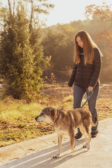 Young woman walking her dog in nature with the rays of the morning sun warm glow and long shadows