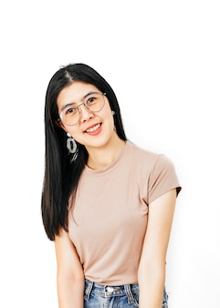 Young woman wearing spectacles,smiling