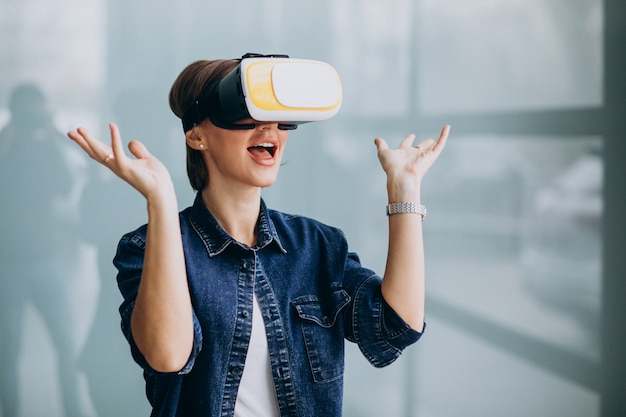 Young woman wearing vr glasses