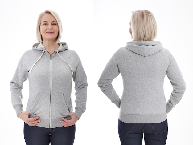 Young woman in white sweatshirt front and rear mockup