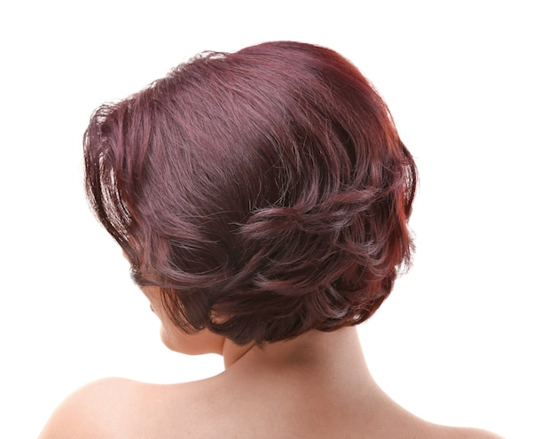 흰색 바탕에 아름다운 머리를 한 젊은 여성
