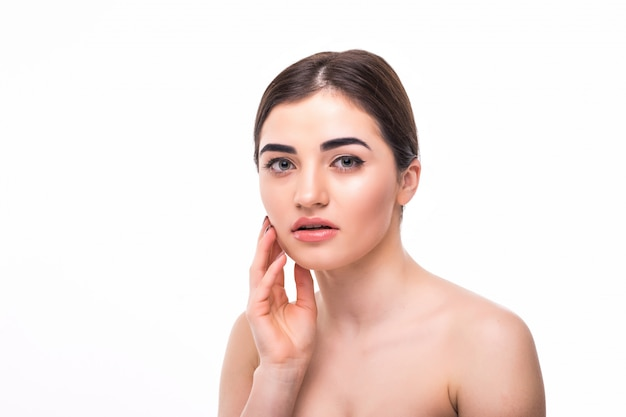 Young woman with beautiful makeup isolated. youth and skin care concept