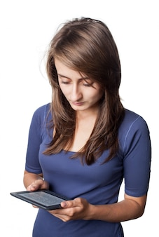 Young woman with e-book