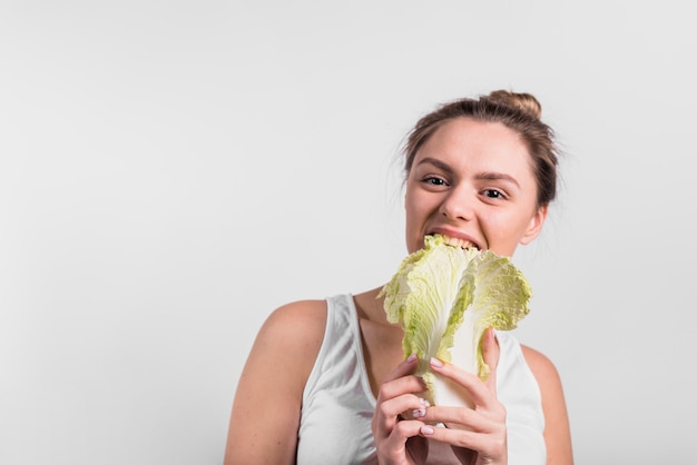 Young woman with freshcabbage