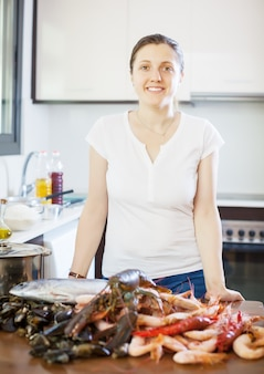 Young  woman with fresh marine products