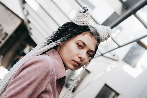 Young woman with futuristic look