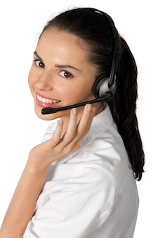 Young woman  with headphones, call center or support concept