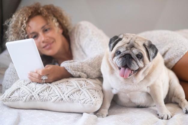 デジタルタブレットを使用して彼女のペットのパグを持つ若い女性。自宅の寝室でデジタルタブレットを使用してソーシャルメディアコンテンツを見て快適なベッドに横たわっている女性の所有者とかわいいペットのパグ犬