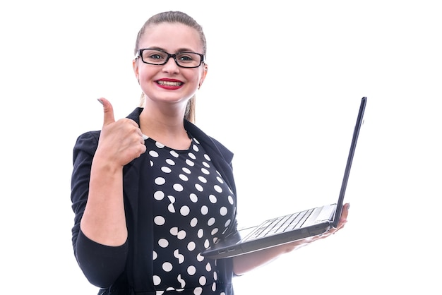 Young woman with laptop posing isolated on white background. she has glassese