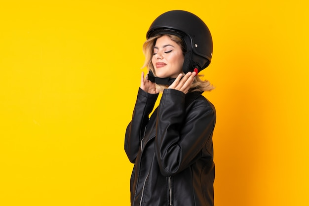 Young woman with a motorcycle helmet