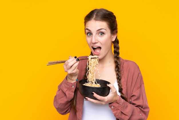 Young woman with noodles