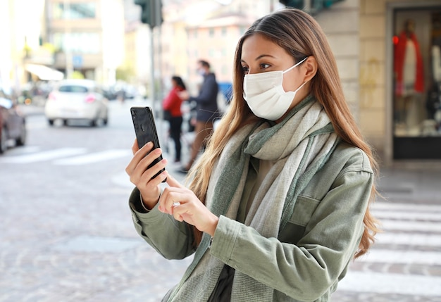 Young woman with protective mask
