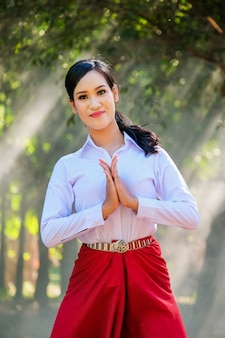 Young woman with rehearsal style thai style.