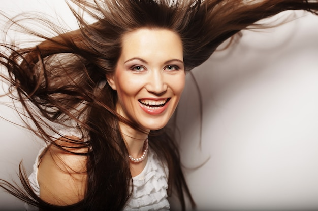 Young  woman with wind in hair