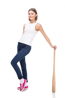 Young woman with wooden baseball bat.
