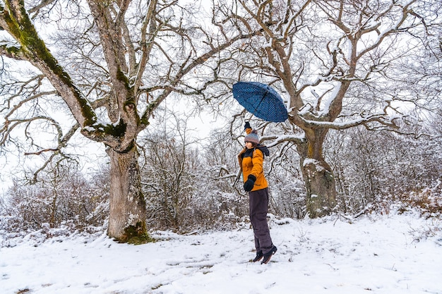 A young woman in a yellow jacket and an umbrella playing with the snow on a tree branch. snow in the town of opakua near vitoria in araba