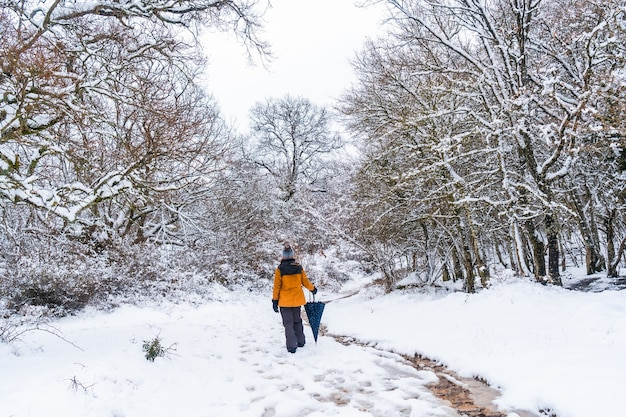 A young woman in a yellow jacket walking along the path of frozen trees. snow in the town of opakua near vitoria
