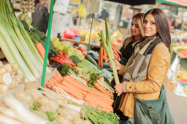 Young women at the market