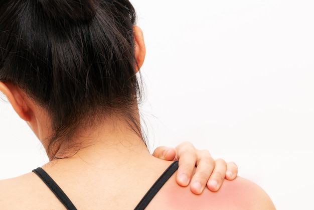Young women neck and shoulder pain injury
