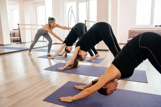 Young women practicing downward facing dog pose.