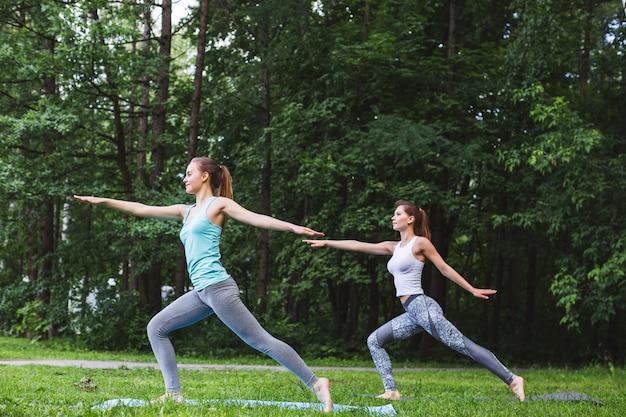 自然の中でヨガの練習の若い女性