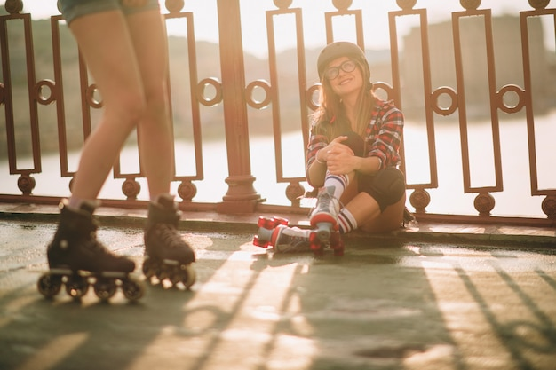 Young women and roller skates